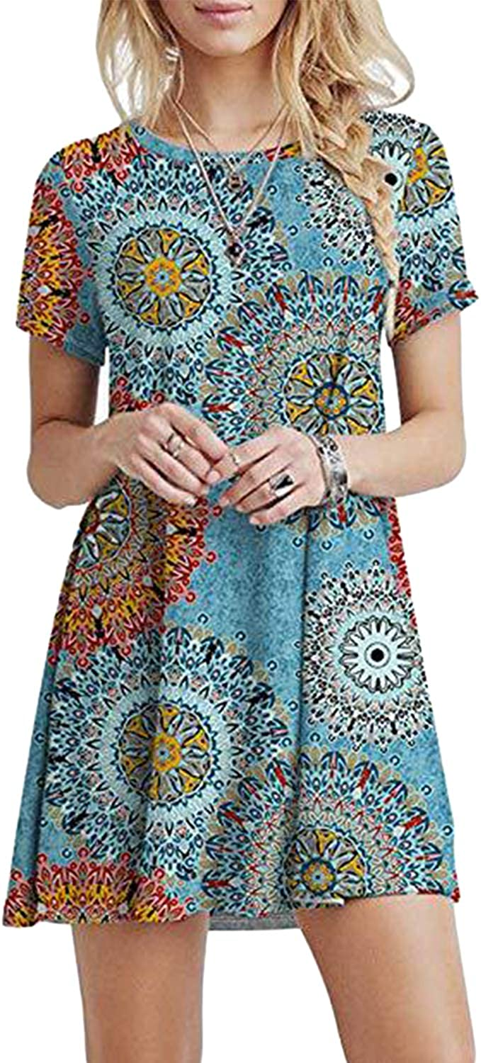 EDTO Womens Summer Casual Tunics Plain Flowy Swing T-Shirt Short Sleeve Cotton Linen Dress