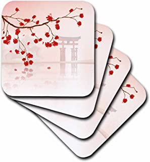 3dRose CST_116168_3 Beautiful Japanese Sakura Red Cherry Blossoms Branching Reflecting Over Water Oriental Vector Design Ceramic Tile Coasters, (Set of 4)
