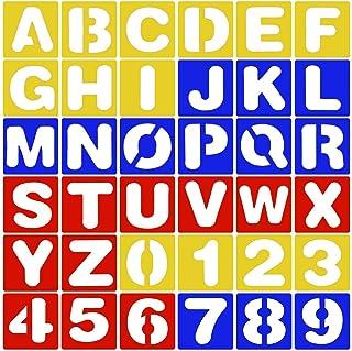 Quaford ステンシルシート ステンシル 丸文字 アルファベット&数字セット 大きい テンプレート 10cm×10cm