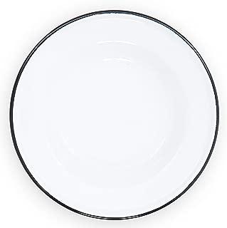 Enamelware Raised Salad Plate, 8 inch, Vintage White/Black (Set of 4)