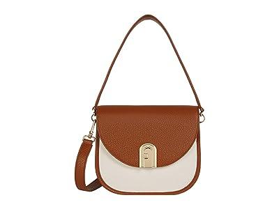 Furla Sleek Mini Crossbody (Cognac/Naturale) Handbags