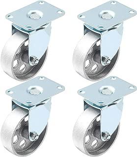 4 All Steel Swivel Plate Caster Wheels Heavy Duty High-Gauge Steel Gray (3.5