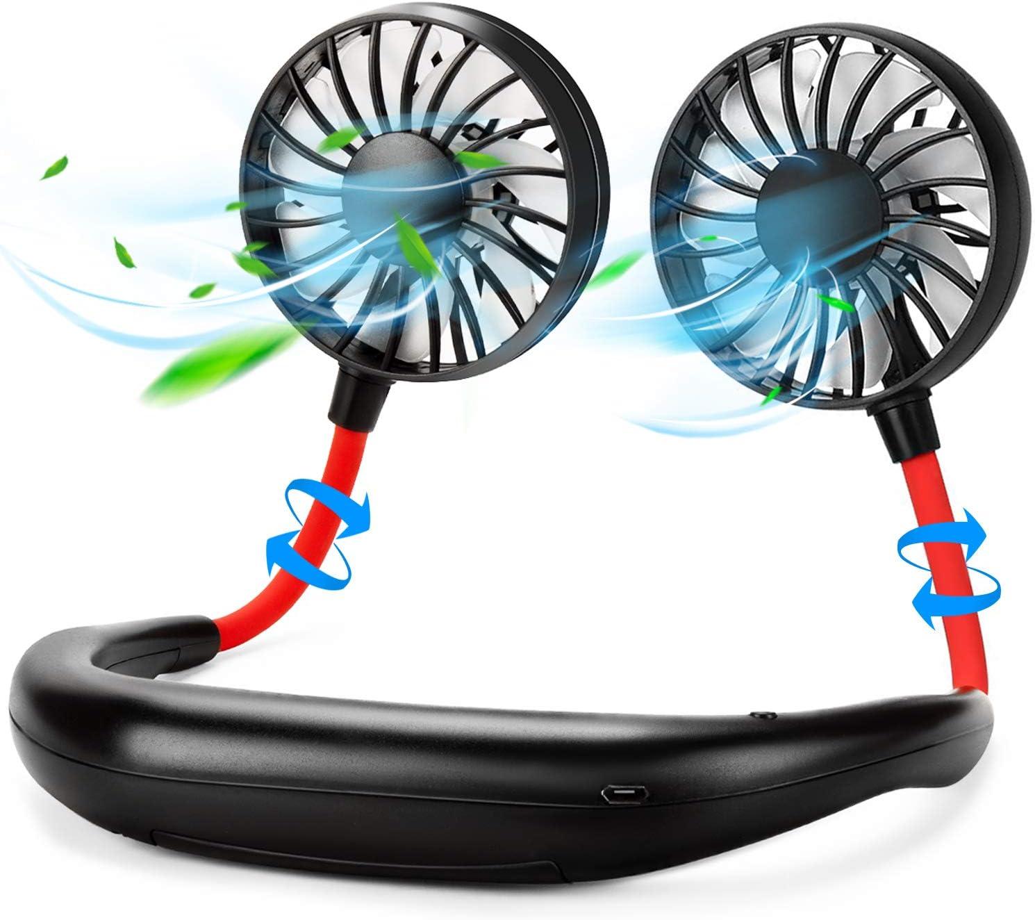 Portable Neck Fan Hand Free Personal Mini Fans USB neck hang fan, 360 Degree Free Rotation personal cooling fan handheld portable fans,Wearable neck fan Suitable for Traveling ,Sports, Office(Black)