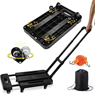 Folding Hand Truck, 450lbs Capacity 6 Wheels Heavy Duty Folding Luggage Trolley Cart with Stretchable Expansion Base, Bung...