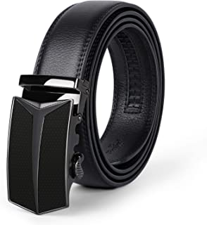 """Men's Leather Ratchet Belt Comfort Dress Belt for Men with Automatic Buckle in Gift Box, Black, Suit for Pants Size 28""""-44"""""""