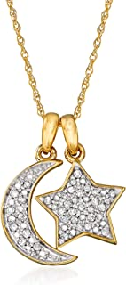 Pave Diamond Heart and Lock Pendant in 18kt Gold Over Sterling Ross-Simons 0.10 ct t.w