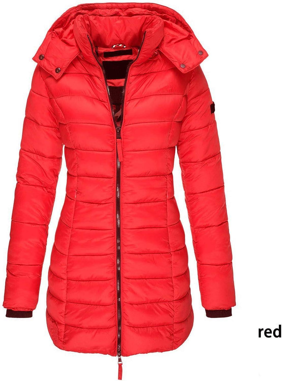 HCFKJ Damen Wintermantel mit Kapuze Abnehmbare Steppmantel Daunenmantel Warm Winddicht Mantel Langarm Herbst Übergangsjacke Outwear Rot