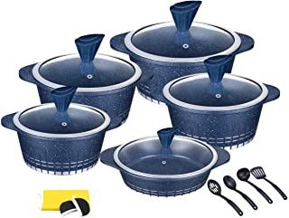 Die-Cast Granite Non-Stick Coated Cookware 17 pcs Cooking pot and Shallow Pan Casserole Set, Dessini Made In ITALY (BLUE)
