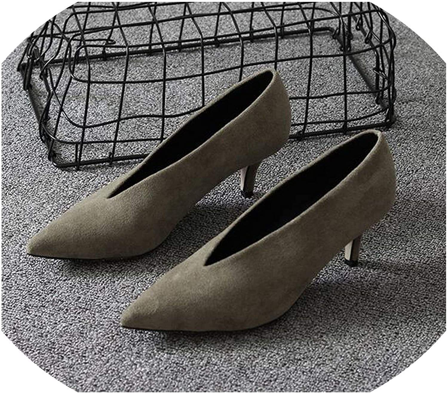 Pointed Toe Girl Thin Heel Woman shoes Deep V Lady shoes Women shoes