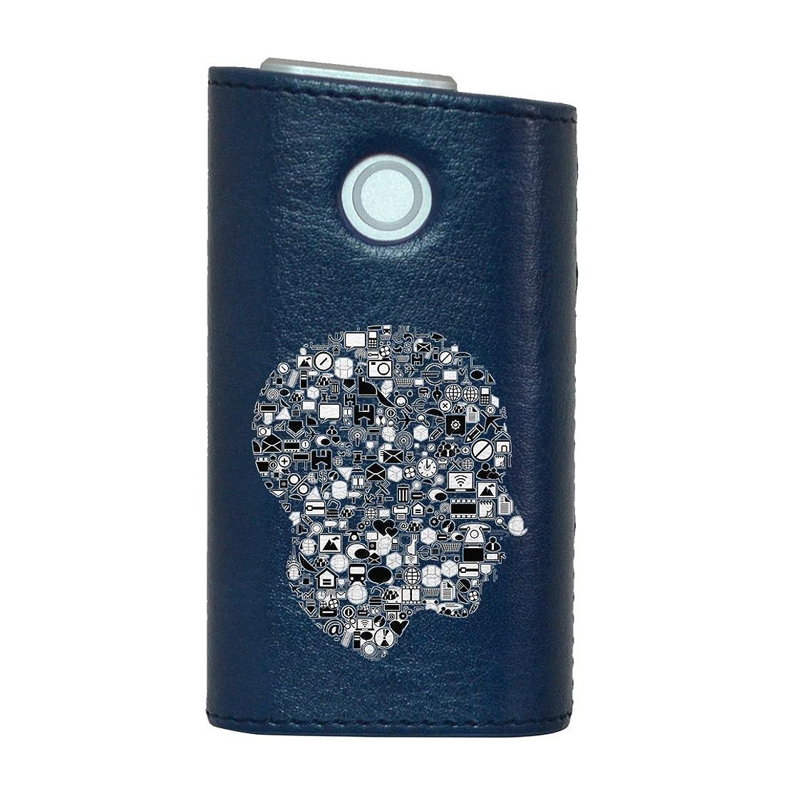 推定するこれらトーンglo グロー グロウ 専用 レザーケース レザーカバー タバコ ケース カバー 合皮 ハードケース カバー 収納 デザイン 革 皮 BLUE ブルー 人物 シルエット 014205