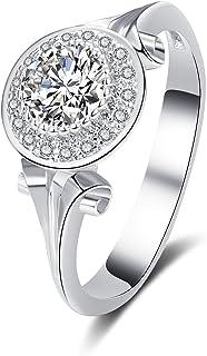 BAYAM 单钻光环锆石戒指 14K 白金镀光环订婚结婚戒指 女士