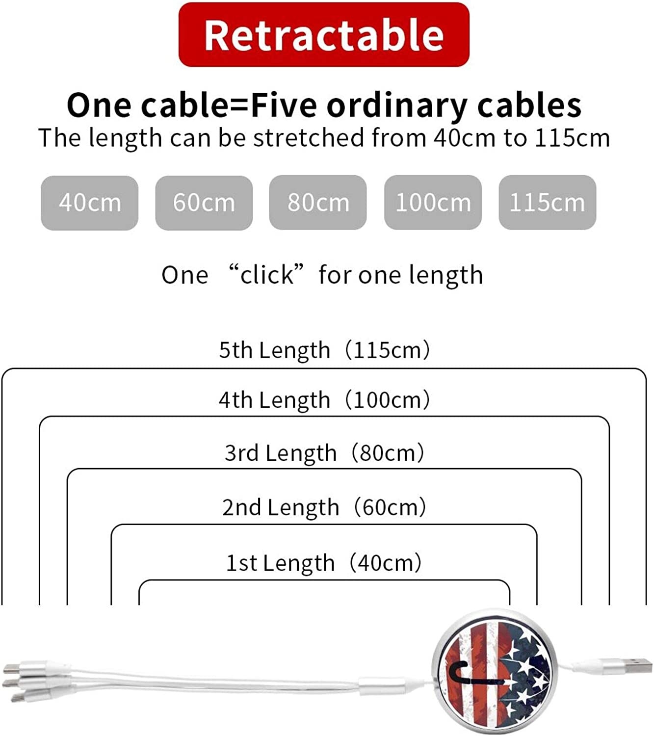 Multi Charger Cable 3 in 1 Charging Cable Universal Charger Cord with Type C//Micro USB Port Compatible with Cell Phone Tablets More SEDSED The Umbrella Academy Multi Charging Cable