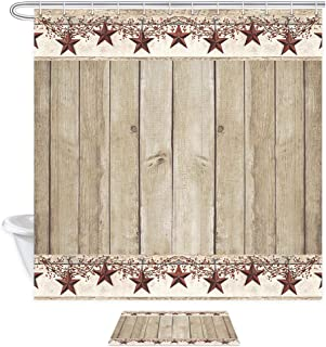 Rusitc Wood Boards Shower Curtain Set, Western Texas Star and Primitive Berries on Country Wooden Plank, 69X70in Country Barn Farmhouse Bath Curtains with 15.7x23.6in Flannel Non-Slip Entrance Mat