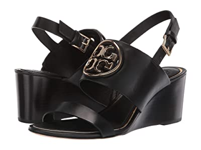 Tory Burch 65mm Metal Miller Wedge (Perfect Black/Gold) Women
