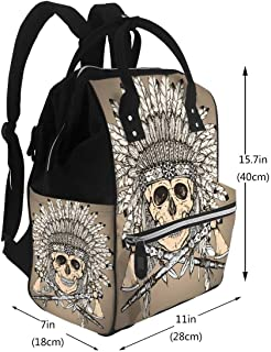 Diaper Bag Backpack, Large Capacity Baby Nappy Changing Bag Native American Indian Headdress with Human Skull and Two Tomahawk Multi-Function Waterproof Travel Back Pack