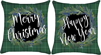 ZUEXT Christmas Wreath Throw Pillow Covers 18x18 Inch Set of 2, Cotton Linen Square Green Black Buffalo Check Plaid Farmhouse Holiday Cushion Pillowcases for Sofa Couch Home Decor New Year Xmas Gift