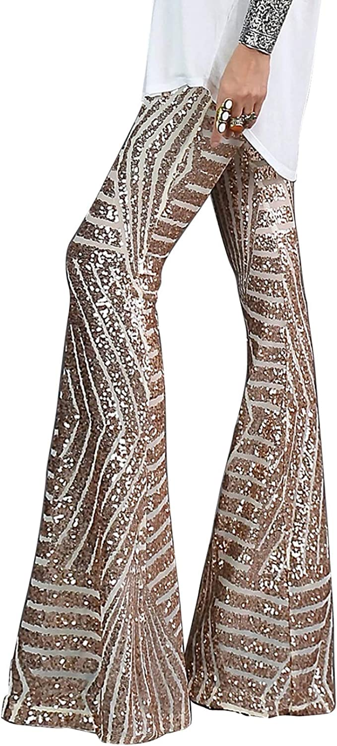 BLENCOT Bell Bottoms for Women High Waisted Wide Leg Palazzo Pants Bling Sequin Flared Trousers