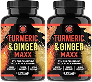 Angry Supplements Turmeric Curcumin & Ginger Maxx, 95% Curcuminoids with Black Pepper, Reduce Inflammation & Joint Support, All-Natural Antioxidant, 1355mg Blend of Non-GMO Ingredients (2-Bottles)