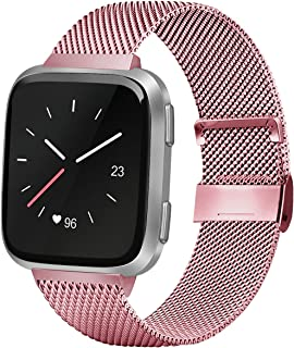 AK Compatible with Fitbit Versa Lite/Versa SE Replacement Bands, Stainless Steel Mesh Sport Metal Wristband Loop Accessories for Women Men