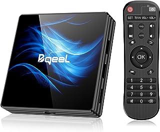 Última Versión Android TV Box 【4GB RAM+64GB ROM】 Bqeel Android 10.0 TV Box RK3318 Quad-Core 64bit Cortex-A53 con 5GHz / 2.4GHz WiFi ,BT 4.0,2k*4K UHD H.265, USB 3.0 Smart TV Box