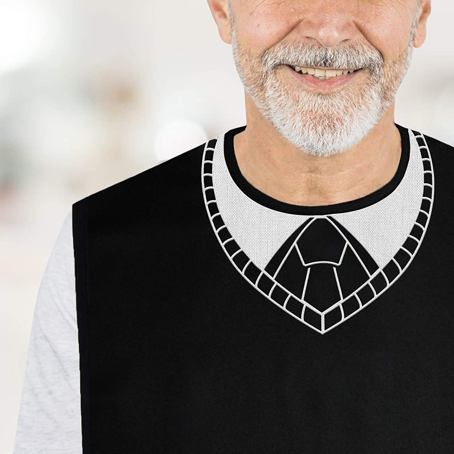 Sunlit Embroidered Adult Bib For Men Eating Waterproof Soft Reusable Clothing Protector With Crumb Catcher, V-Neck Sweater Vest With Tie: Clothing