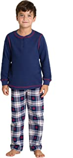 PajamaGram Big Boys' Flannel Classic Plaid Pajamas with Long-Sleeved Top