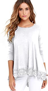 Women's Tops Long Sleeve Lace Trim O-Neck A-Line Tunic Blouses for Leggings