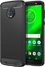 MoKo Moto G6 Case, MoKo Flexible TPU Bumper Slim Fit Case Carbon Fiber Design Lightweight Shockproof Back Cover for Motorola Moto G6 5.7 Inch 2018, Black