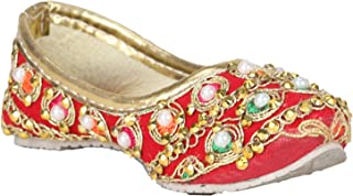 Buckled Up Red Leather Touch Ultra Classy Finish with Thread and Stone Work Leather Mojaries Bellies for Baby Girls/Girl Kids(Color: Red)