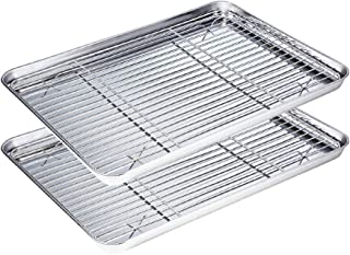 WEZVIX Stainless Steel Baking Sheet with Cooling Rack Set of 2 Baking Tray with Wire Rack Rectangle Size 16 x 12 x 1 inch, Non Toxic, Rust Free & Less Stick, Heavy Duty & Easy Clean, Dishwasher Safe