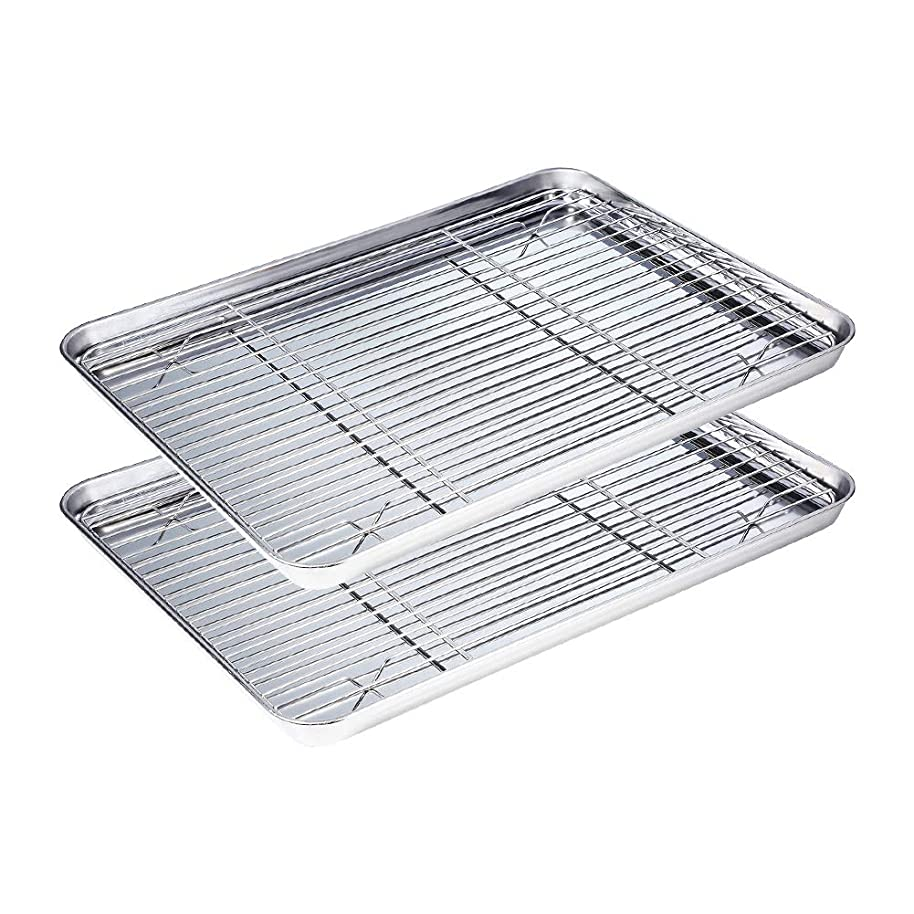 WEZVIX Stainless Steel Baking Sheet with Cooling Rack Set of 2 Baking Tray with Wire Rack (Rectangle Size 16 x 12 x 1 inch,Non Toxic,Rust Free & Less Stick,Heavy Duty & Easy Clean,Dishwasher Safe)