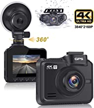 """Lifechaser Dual Dash Cam 4K+1080P Front and Rear Car Camera 3840x2160P 8MP CMOS, WiFi, GPS, Night Vision, 2.4"""" IPS, 170� Wide Angle, Parking Mode, WDR, Time Lapse, G-Sensor for Cars, Truck"""