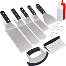 Leonyo Griddle Accessories Set of 9, Stainless Steel Grill Metal Spatula, Griddle Tools for BBQ Flat Top Cast Iron Cooking Camping, Dishwasher Safe, 5 S Hooks