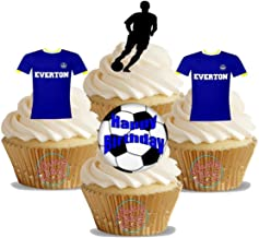 12 x Everton FC Happy Birthay Football Mix - Choose From UNFLAVOURED or VANILLA-SWEETENED Toppers - Fun Novelty PREMIUM STAND UP Edible Wafer Card Cake Toppers Decorations (Unflavoured)