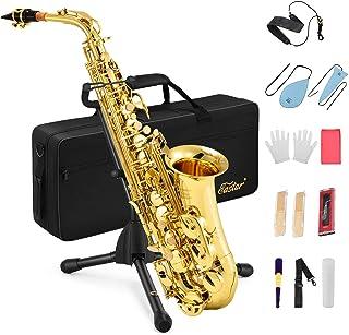 Eastar AS-Ⅱ Student Alto Saxophone E Flat Gold Lacquer Alto مبتدی Sax کامل کیت با کیف مخصوص ساکس کیف دهانه بند بند بند نی چوب پنبه ایستاده