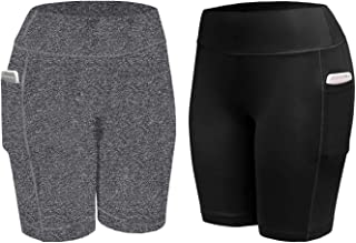NEWITIN 2 Pieces High Waist Shorts Workout Yoga Shorts with Side Pockets Sport Shorts for Women Black/Gray