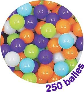 LUDI - Carton de 250 balles multicolores souples en plastique anti-écrasement. A partir de 6 mois. Balles à lancer, faire ...