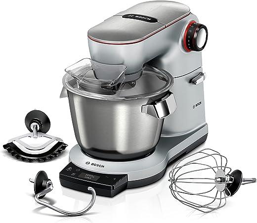 Bosch Küchenmaschine OptiMUM MUM9AX5S00, Edelstahl-Schüssel 5,5 L, integrierte Waage und Timer, Planetenrührwerk, Profi-Knethaken, Schlag-,...