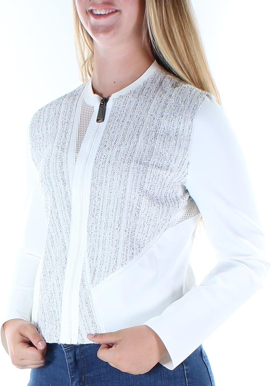Elie Tahari Womens Ivory Mesh Zip Up Jacket US Size  8