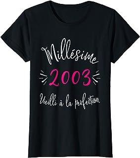 Femme Cadeau Anniversaire 18 Ans Femme Millésime 2003 T-Shirt