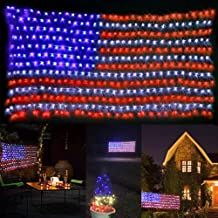 DINGFU Awesome American Flag Lights,Waterproof Led Flag Net Lights for Independence Day,Memorial Day,Festival,Garden Decoration