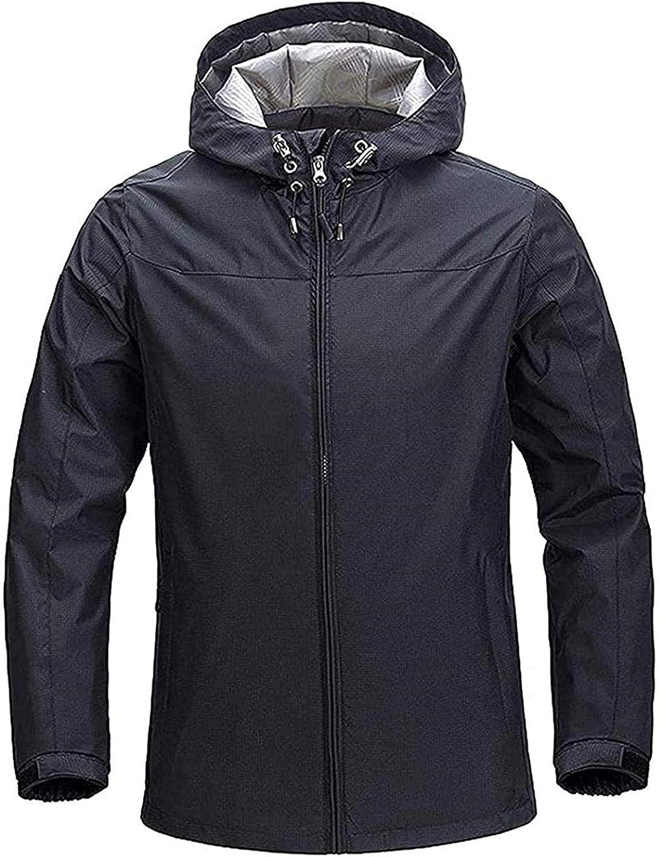 Mens Front-Zip Hooded Waterproof Lightweight Pocket Fishing Suit Rain Jacket