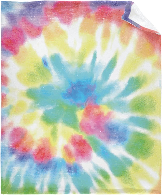 Flannel New life Fleece Bed Blanket Rainbow Brand new Tie Lightwe Throw Dye