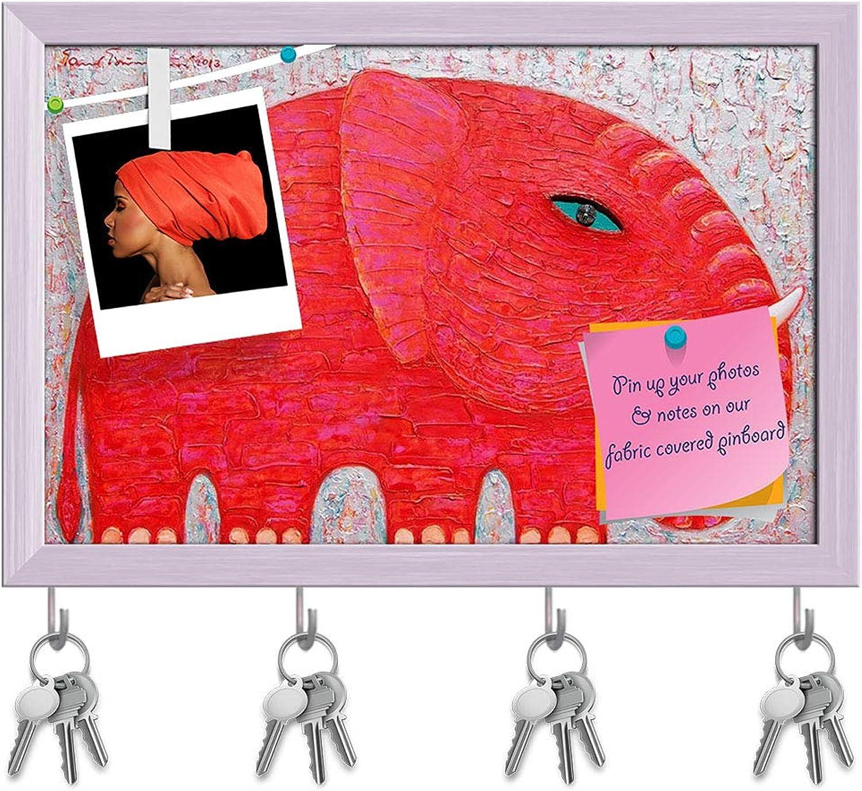 Artzfolio Red Elephant D6 Key Holder Hooks   Notice Pin Board   White Frame 18.1 X 12Inch