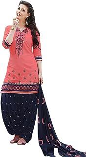 48f247d73a Kvsfab Women's Cotton Patiala Salwar Suit Salwar Suit, Peach & Blue  [KVSSK7561PA_42]