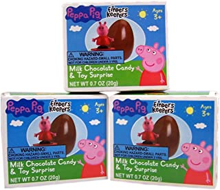 Peppa Pig Finders Keepers Milk Chocolate Candy Egg with Toy Surprise, 0.7 oz, Pack of 3