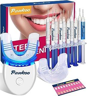 کیت سفید کننده دندان با چراغ LED برای دندان های حساس ، سفید کننده دندان با سینی دهان سیلیکون دو طرفه ، 10 برابر ژل سفید کننده دندان پراکسید کربامید ، کمک می کند لکه دندان را از قهوه و نیکوتین پاک کنید.