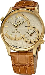 August Steiner Men's Silver Leather Band Watch - AS8010YG