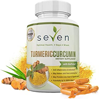 Turmeric Curcumin Supplement 1300mg + BioPerine - 30 Day Supply of Highest Potency 95% Standardized Curcuminoids for Joint Pain Relief and Anti Inflammatory by Seven Nutrition