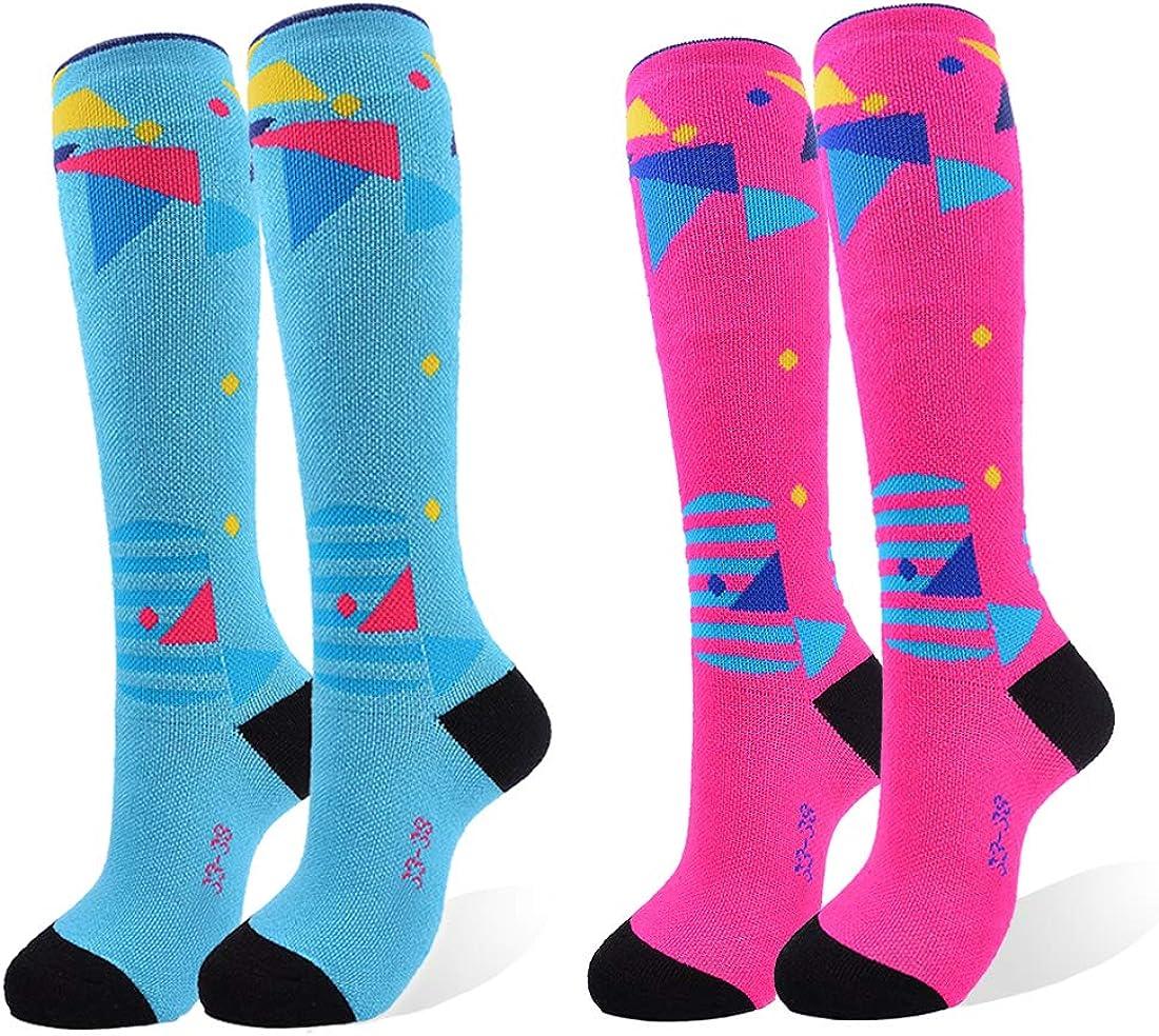 AII Knee High Ski Socks Boys Girls Kids,Snowboard Socks for Skiing Outdoor Cold Weather(2 pairs)